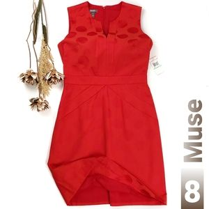 New Muse Red Coral Pink Bold Dotted Shift Dress 8